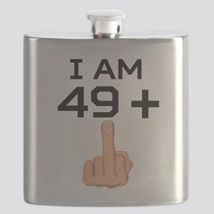 49 Plus Middle Finger 50th Birthday Flask