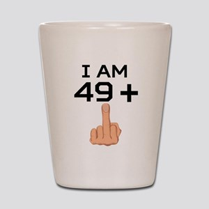 49 Plus Middle Finger 50th Birthday Shot Glass
