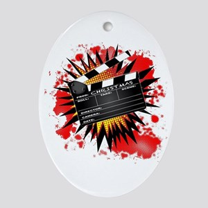 Christmas Clapperboard Oval Ornament