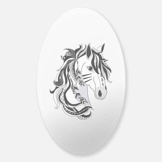 Beautiful Tribal Horse Sticker (Oval)