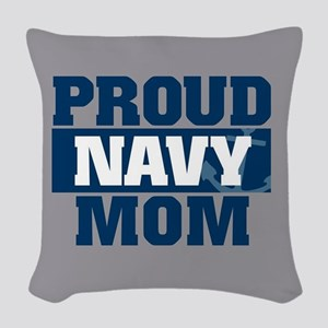 US Navy Proud Navy Mom Woven Throw Pillow