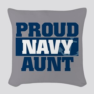 US Navy Proud Navy Aunt Woven Throw Pillow