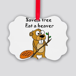 Funny Beaver Picture Ornament