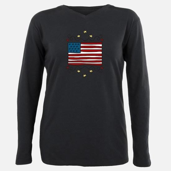 Unique Patriotic Plus Size Long Sleeve Tee