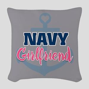 US Navy Girlfriend Woven Throw Pillow