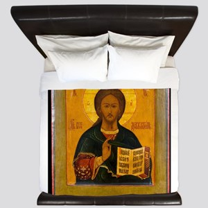 Jesus Christ Russian Icon King Duvet
