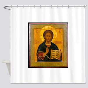 Jesus Christ Russian Icon Shower Curtain