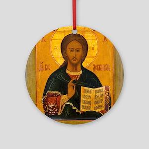 Jesus Christ Russian Icon Round Ornament