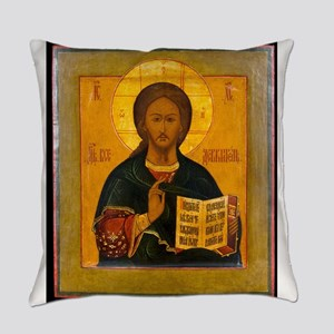Jesus Christ Russian Icon Everyday Pillow