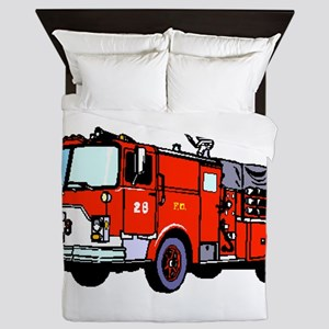 Fire Truck Queen Duvet