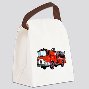 Fire Truck Canvas Lunch Bag