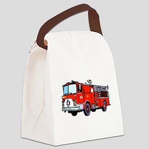 Fire Truck Canvas Lunch Bag