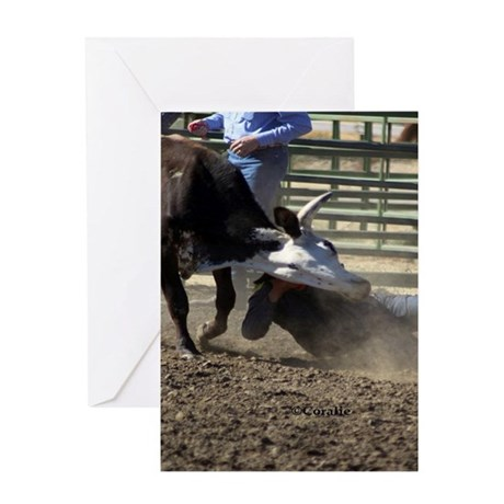 Bulldogging Steer Wrestling Rodeo A Greeting Cards