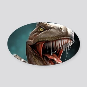 Velociraptor Oval Car Magnet