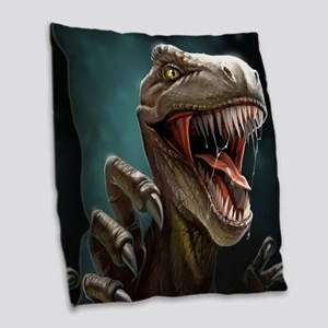 Velociraptor Burlap Throw Pillow