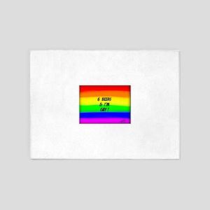 6 BEERS & I'M GAY ! Rainbow art 5'x7'Area Rug