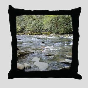 Mountain Stream - Great Smoky Mountai Throw Pillow