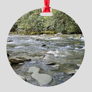 Mountain Stream - Great Smoky Mount Round Ornament