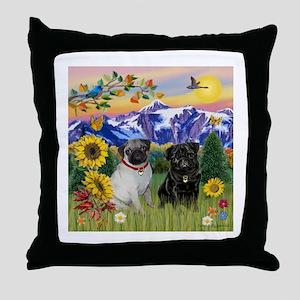 Mountain Country & Pug Pair Throw Pillow