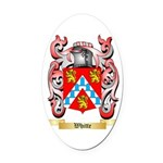 Whitte Oval Car Magnet