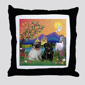 Pug Pair in Fantasyland Throw Pillow