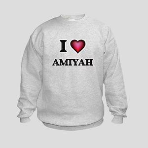I Love Amiyah Kids Sweatshirt