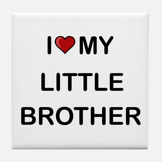 I Heart My Little Brother 2 Tile Coaster