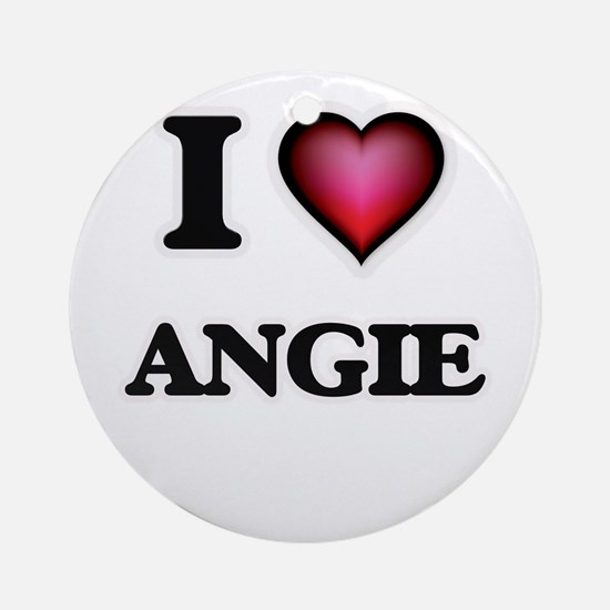 I Love Angie Round Ornament
