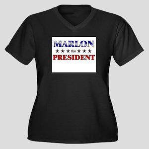 MARLON for president Women's Plus Size V-Neck Dark