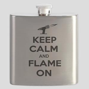 KeepCalmFlameOnBlk Flask