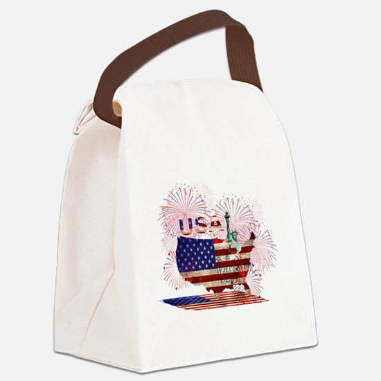 Cute Statue liberty Canvas Lunch Bag