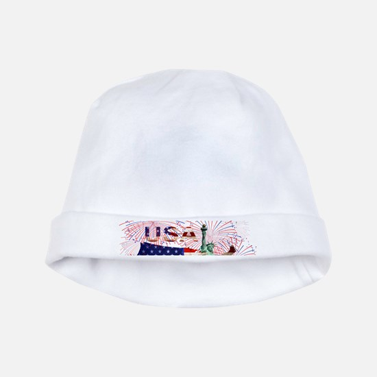USA FIREWORKS STARS STRIPES LADY LIBERTY baby hat