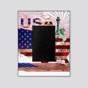 USA FIREWORKS STARS STRIPES LADY LIB Picture Frame