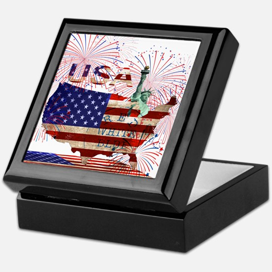USA FIREWORKS STARS STRIPES LADY LIBE Keepsake Box