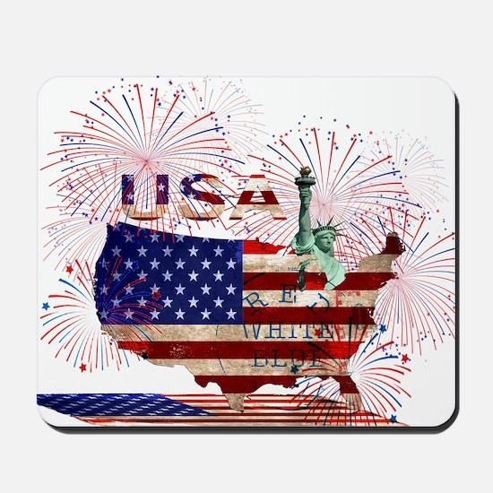 USA FIREWORKS STARS STRIPES LADY LIBERTY Mousepad