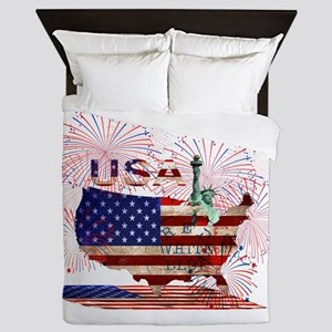 USA FIREWORKS STARS STRIPES LADY LIBER Queen Duvet