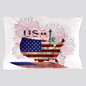 USA FIREWORKS STARS STRIPES LADY LIBER Pillow Case