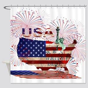 USA FIREWORKS STARS STRIPES LADY LI Shower Curtain