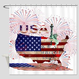 USA FIREWORKS STARS STRIPES LADY LI Shower Curtain
