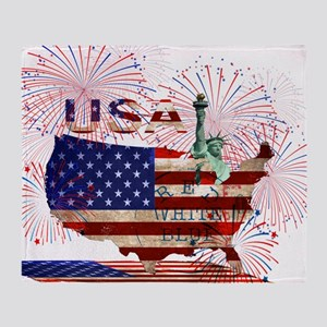 USA FIREWORKS STARS STRIPES LADY LIB Throw Blanket