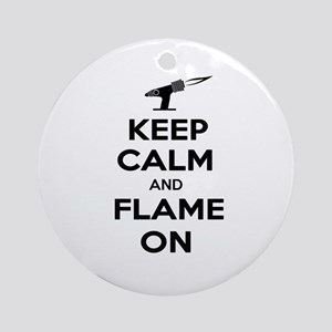 KeepCalmFlameOnBlk Round Ornament