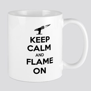 KeepCalmFlameOnBlk Mugs