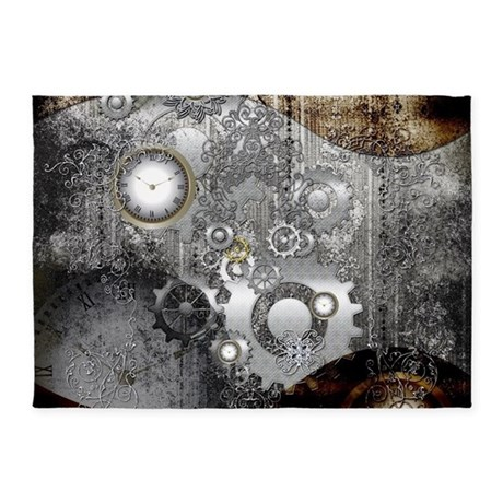 Steampunk Clocks And Gears 5 X7 Area Rug By Fantasyworld10