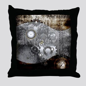 Steampunk, clocks and gears Throw Pillow