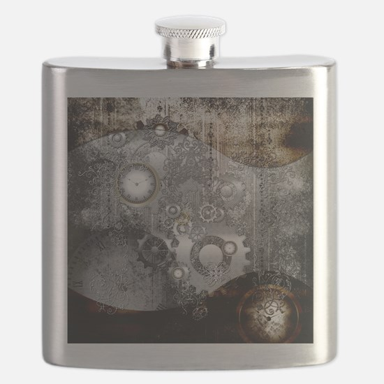 Steampunk, clocks and gears Flask