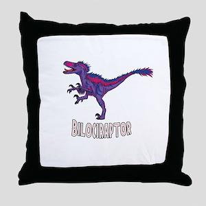 Bi-Lociraptor Text Throw Pillow