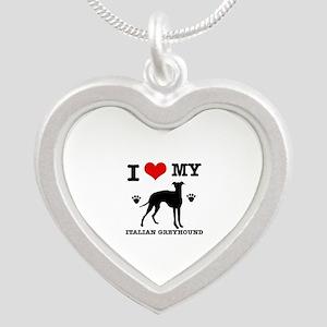 I Love My Italian Greyhound Silver Heart Necklace