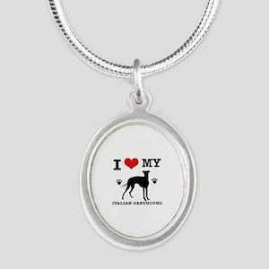 I Love My Italian Greyhound Silver Oval Necklace