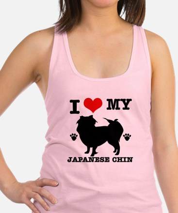 I Love My Japanese Chin Racerback Tank Top