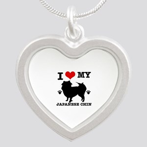 I Love My Japanese Chin Silver Heart Necklace